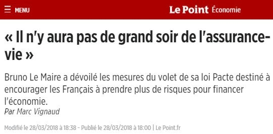 Le Point pas de grand soir de l'assurance-vie
