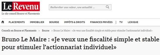 Bruno Le Maire veut une fiscalité simple et stable