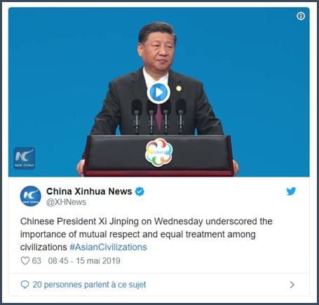 China Xinhua News le président chinois a souligné l'importance du respect mutuel et de l'égalité de traitement entre civilisations