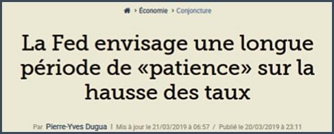 Figaro la Fed envisage une longue période de patience sur la hausse des taux