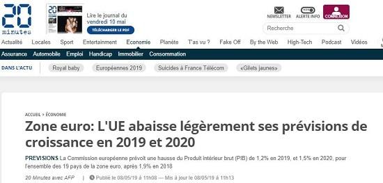 20 Minutes zone euro l'UE abaisse ses prévisions de croissance