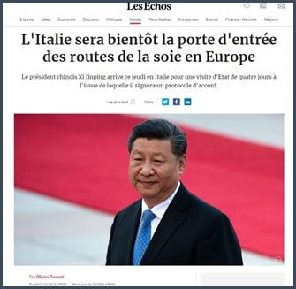 Les Echos L'italie bientôt la porte d'entrée des routes de la soie en Europe