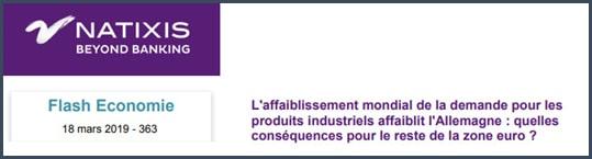 Natixis l'affaiblissement mondial de la demande pour les produits industriels affaiblit l'Allemagne