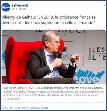 Villeroy de Galhau la croissance française deux fois supérieure à l'allemande en 2019