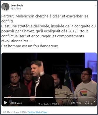 Tweet Mélenchon cherche partout à créer et exacerber les conflits