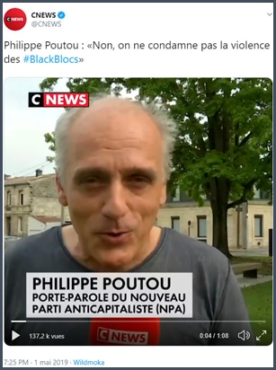 CNews Philippe Poutou ne condamne pas la violence des blacks blocs