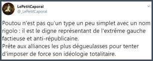 Tweet Poutou digne représentant de l'extrême gauche factieuse et anti-républicaine