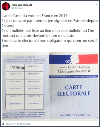 Tweet l'archaïsme du vote en France