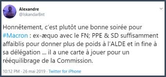 Tweet une bonne soirée pour Macron