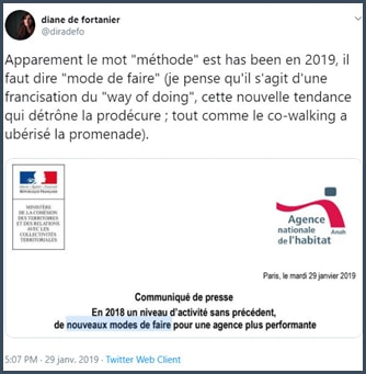 Tweet Diane de Fortanier Apparemment le mot méthode est has been en 2019