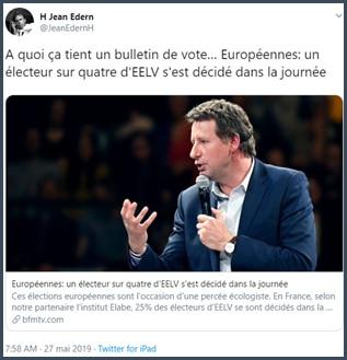 BFMTV Un électeur EELV sur quatre s'est décidé dans la journée