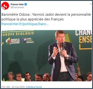 France Inter tweet Yannick Jadot personnalité politique préférée des Français selon baromètre Odoxa