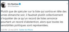 Eric Naulleau tweet toutes les sensibilités politiques représentées aux européennes