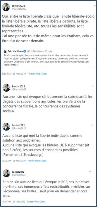 Tweet Bastiat2022 absence de listes libérales aux européennes