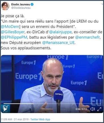 Tweet Elodie Jauneau cite Gilles Boyer : Un maire qui sera élu sans l'apport de LREM ou du MoDem sera un ennemi du président