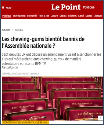 Le Point Les chewing-gums bientôt bannis de l'Assemblée nationale ?