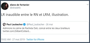 Tweet Diane de Fortanier LR inaudible entre le RN et LRM, illustration