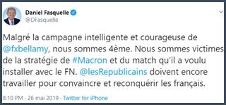 Tweet Daniel Fasquelle Malgré la campagne intelligente et courageuse de François-Xavier Bellamy