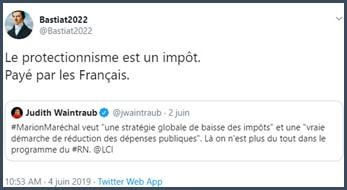 Tweet Bastiat 2022 Le protectionnisme est un impôt payé par les Français