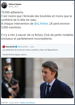 Tweet Hélène Kaplan 70 000 adhérents à LR c'est moins que l'amicale des boulistes
