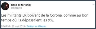 Tweet Diane de Fortanier Les militants LR boivent de la Corona