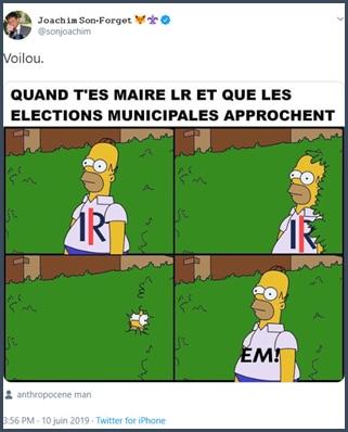 Tweet Joachim Son-Forget Quand t'es maire LR et que les élections municipales approchent