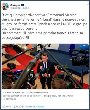 Tweet Giuseppe Emmanuel Macron cherche à éviter le terme libéral dans le nouveau nom du groupe formé par l'alliance entre Renaissance et ALDE