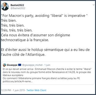 Tweet Bastiat2022 Pour le parti de Macron, éviter le mot libéral est impératif. Bien, très bien.