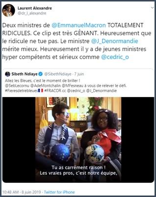 Tweet Laurent Alexandre deux ministres d'Emmanuel Macron totalement ridicules