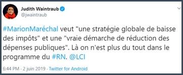 Tweet Judith Waintraub Marion Maréchal veut une stratégie globale de baisse des impôts
