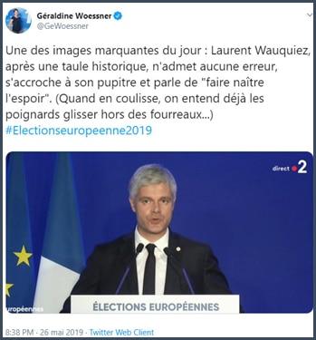 Tweet Géraldine Woessner Une des images marquantes du jour : Laurent Wauquiez n'admet aucune erreur