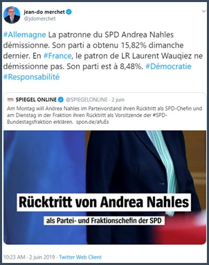 Tweet Jean-Do Merchet La patronne du SPD allemand démissionne