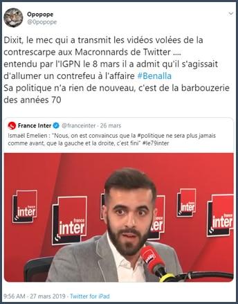 Tweet Opopope commentaire sur citation d'Ismaël Emelien