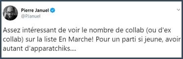 Tweet Pierre Januel Assez intéressant de voir le nombre de collab (ou d'ex collab) sur la liste En Marche