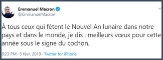 Tweet Emmanuel Macron A tous ceux qui fêtent le nouvel an lunaire