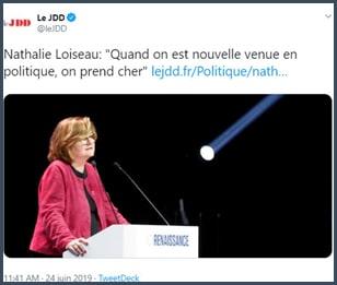 Tweet Le JDD Nathalie Loiseau Quand on est nouvelle venue en politique on prend cher
