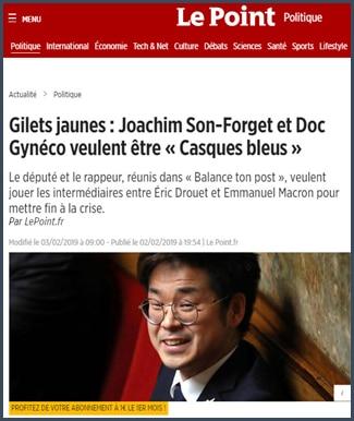 Le Point Joachim Son-Forget et Doc Gynéco veulent être Casques bleu pour les gilets jaunes