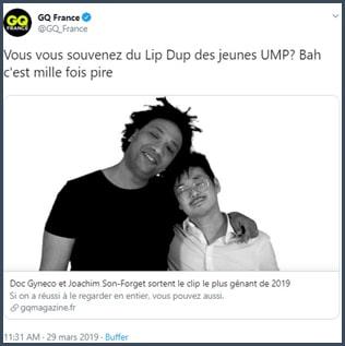 Tweet GQ France Vous vous souvenez du Lip Dub des jeunes UMP ? Bah c'est mille fois pire