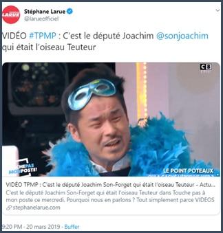 Tweet Stéphane Larune c'est le député Joachim Son-Forget qui était l'oiseau Teuteur