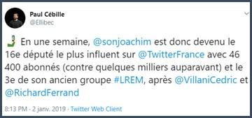 Tweet Paul Cébille En une semaine, Son-Forget est devenu le 16e député le plus influent sur Twitter