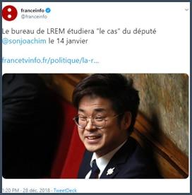 Tweet franceinfo Le bureau de LREM étudiera le cas du député Son-Forget