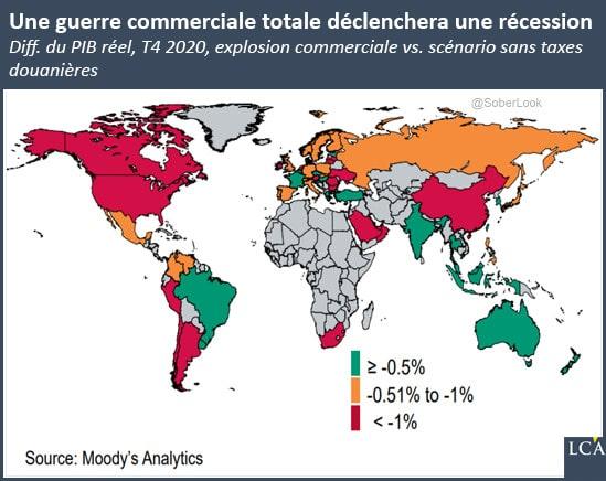Carte des pays les plus touchés par une récession prochaine