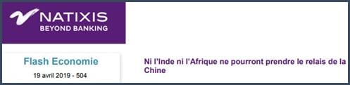 Natixis Ni l'Inde ni l'Afrique ne pourront prendre le relais de la Chine