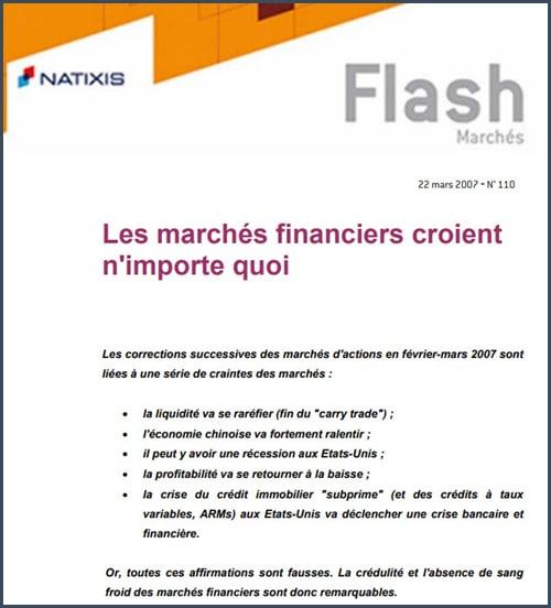 Natixis flash mars 2007 Les marchés financiers croient n'importe quoi