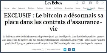 Ls Echos Le bitcoin a désormais sa place dans les contrats d'assurance-vie