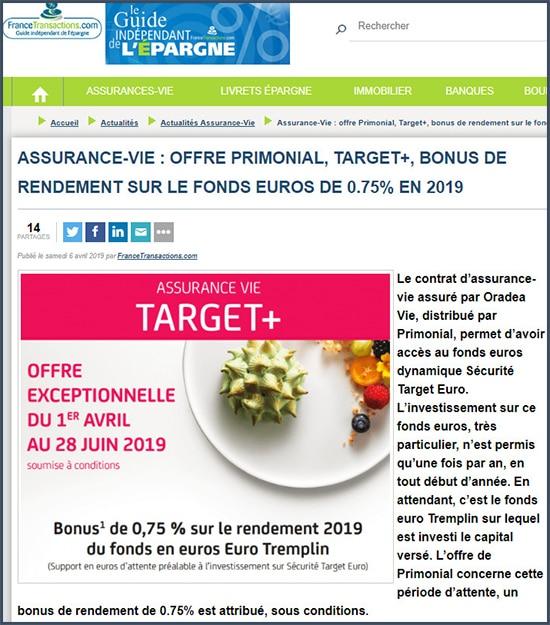 Guide de l'épargne Assurance vie offre primonial target+ bonus de rendement sur le fonds euros de 0,75% en 2019