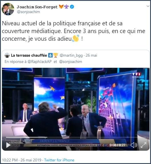 Tweet JSF Niveau actuel de la politique française