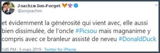 Tweet JSF générosité et magnanimité de Picsou
