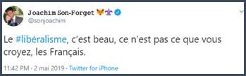 Tweet JSF le libéralisme c'est beau
