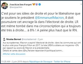 Tweet JSF c'est pour le libéralisme que je soutiens Macron